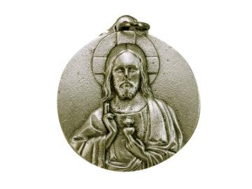Medallón Sagrado Corazón 4cm  fundicion