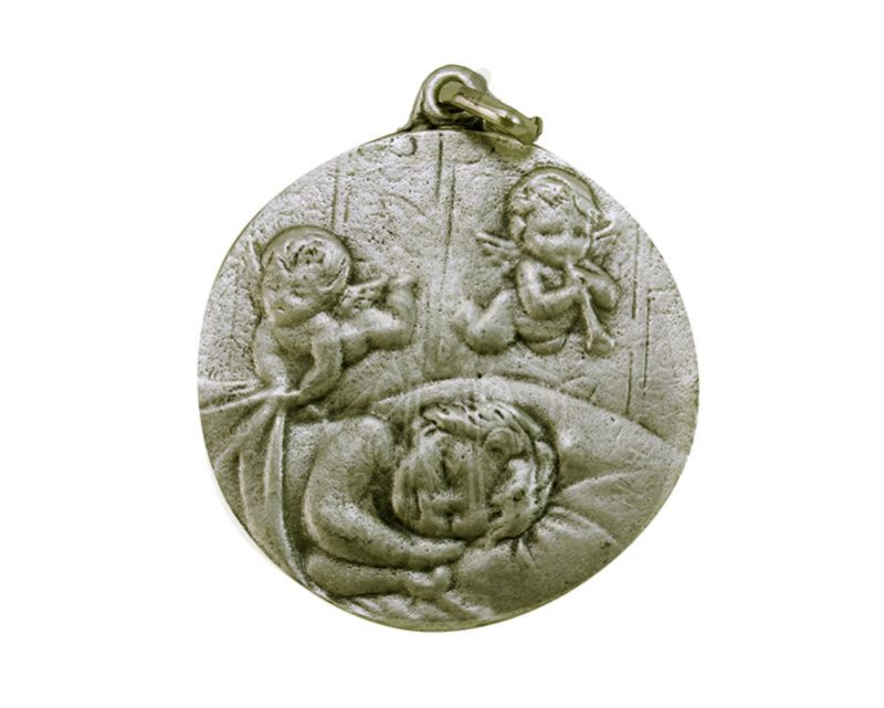 Medallón Niño c/angelito 4,3cm  fundicion