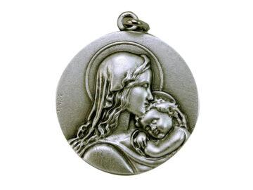 Medallón Virgen c/niño 4,3cm   fundicion