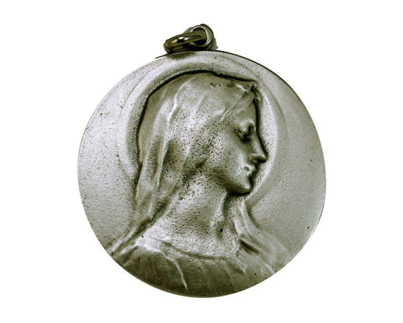 Medallón Virgen Perfil 5cm  fundicion