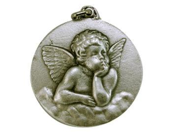 Medallón Ángel Rafael 5cm  fundicion