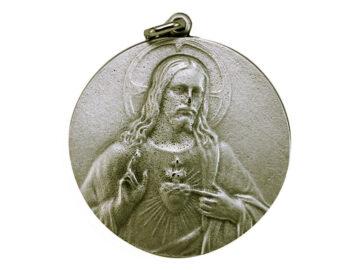Medallón Sagrado Corazón 5cm  fundicion