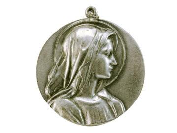 Medallón Virgen perfil 4,3cm  fundicion