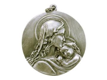 Medallón Virgen c/niño 6cm  fundicion