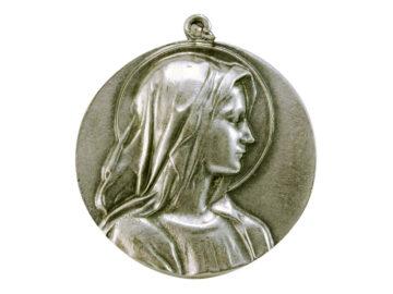 Medallón Virgen perfil 6cm  fundicion