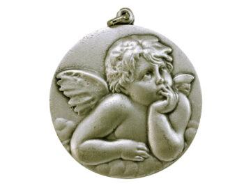 Medallón Ángel Rafael 6cm  fundicion