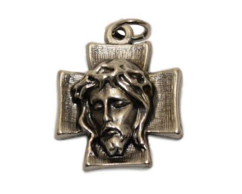 Cruz rostro de Cristo Italiana. metal