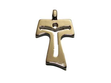 Cruz Tao calada Cristo 30mm. Italiana. metal
