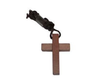 Cruz lisa madera oscura c/cordón - 5cm