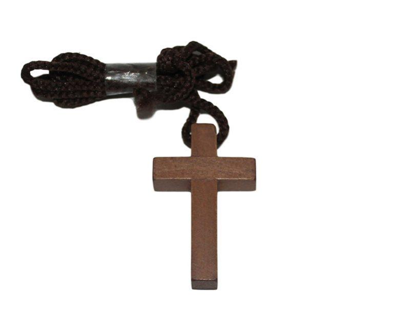 Cruz lisa madera oscura c/cordón - 4cm