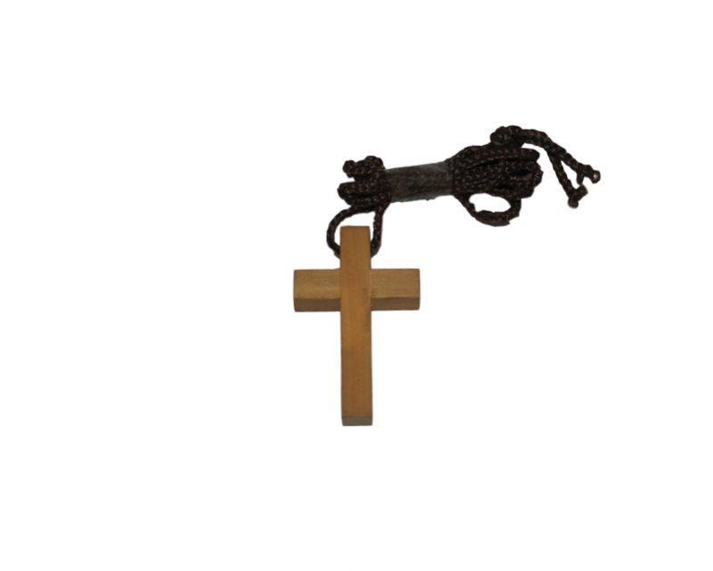 Cruz lisa madera clara c/cordón - 4cm