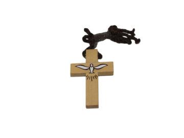Cruz madera clara c/Esp. Santo c/cordón - 5cm