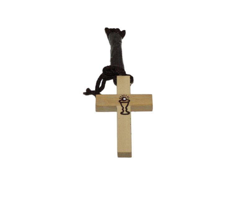 Cruz madera clara c/cáliz c/cordón - 5cm