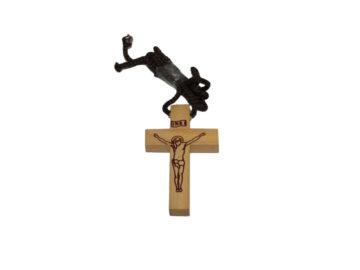 Cruz madera clara c/Cristo c/cordón - 5cm