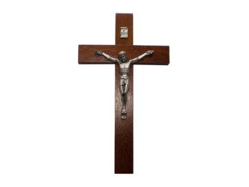 Crucifijo de pared - madera c/ Cristo plateado. 28cm - N°5