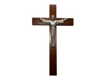 Crucifijo de pared - madera c/ Cristo plateado. 24cm - 4R
