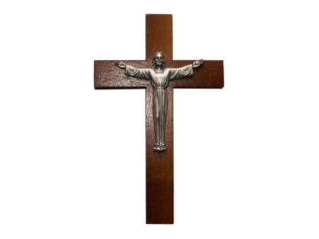 Crucifijo de pared - madera c/ Cristo plateado. 18cm - 2R
