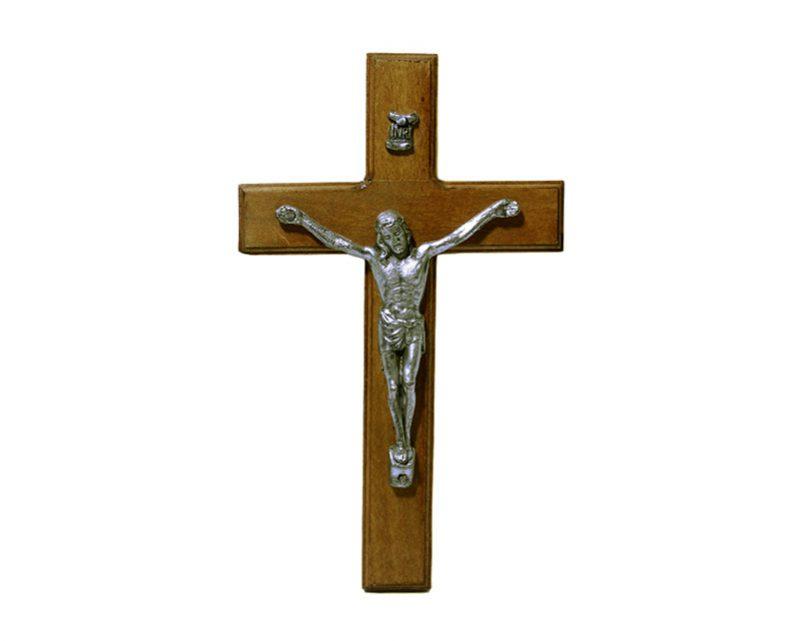 Crucifijo de pared - madera c/ Cristo plateado. 15cm