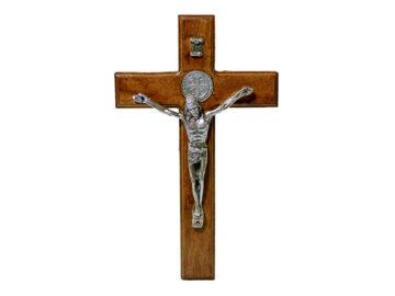 Crucifijo de pared c/Cristo plateado - San Benito. 15cm