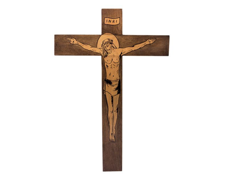 Crucifijo/pared- madera teñida Cristo pirogravado. 32x22cm