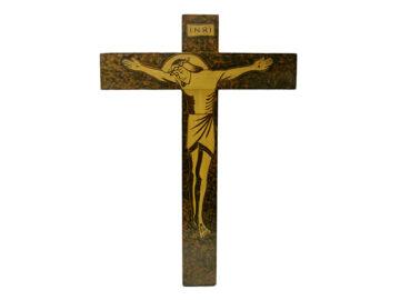 Crucifijo de pared - madera Cristo pirogravado. 24x16cm