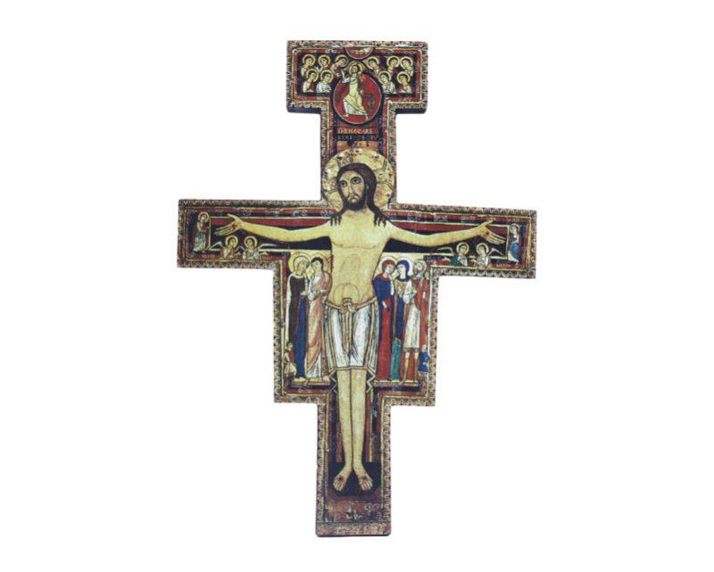 Crucifijo de pared - madera San Damián c/marco. 26x21cm