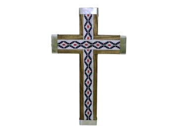Crucifijo de pared - madera c/ puntas alpaca y pampa