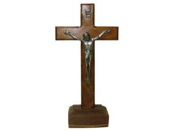 Crucifijo de pared - madera c/Cristo y base. 16cm