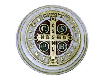Estatua Medallón San Benito 17cm - ceramica