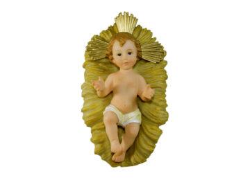 Estatua Niño Jesús resina  c/cuna. 15cm. Santini