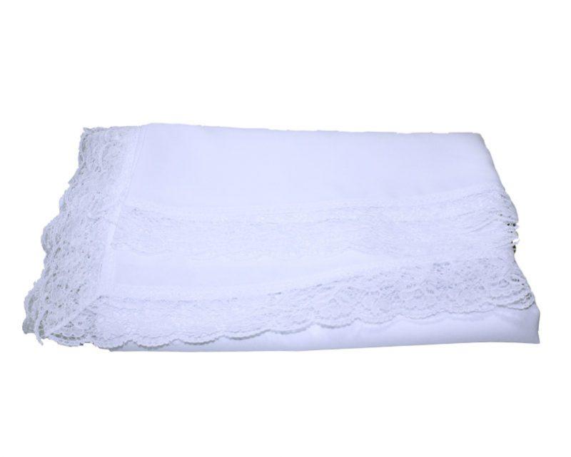 Mantel Altar blanco c/puntilla (crepe poliéster) 4,00x1,40mts