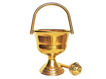 Calderillo de bronce c/ doble fondo. 16cm de alto