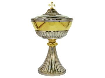 Copón niquelado c/copa dorada Italiano. 19cm de alto