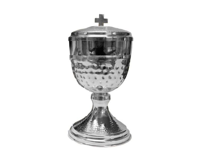 Copón base niquelada y copa c/ baño de plata. Nacional. 16 cm