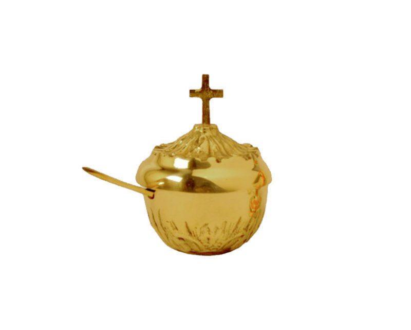 Naveta redonda de bronce fundido c/cuchara. 8cm/alto