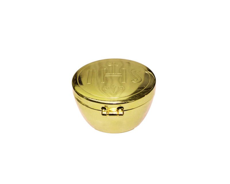 Teca alta tipo reloj. baño oro 2,5x5cm (p/aprox. 15 hostias)