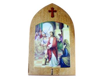 Juego V Crucis grande completo c/forma de capilla. 33x21cm