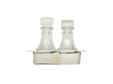 Vinajera acero inoxidable c/botellas vidrio. 12cm