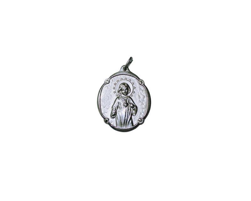 Virgen Niña Antigua. 14mm Medalla de alpaca