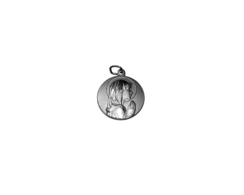 Virgen Niña. 22mm Medalla de alpaca