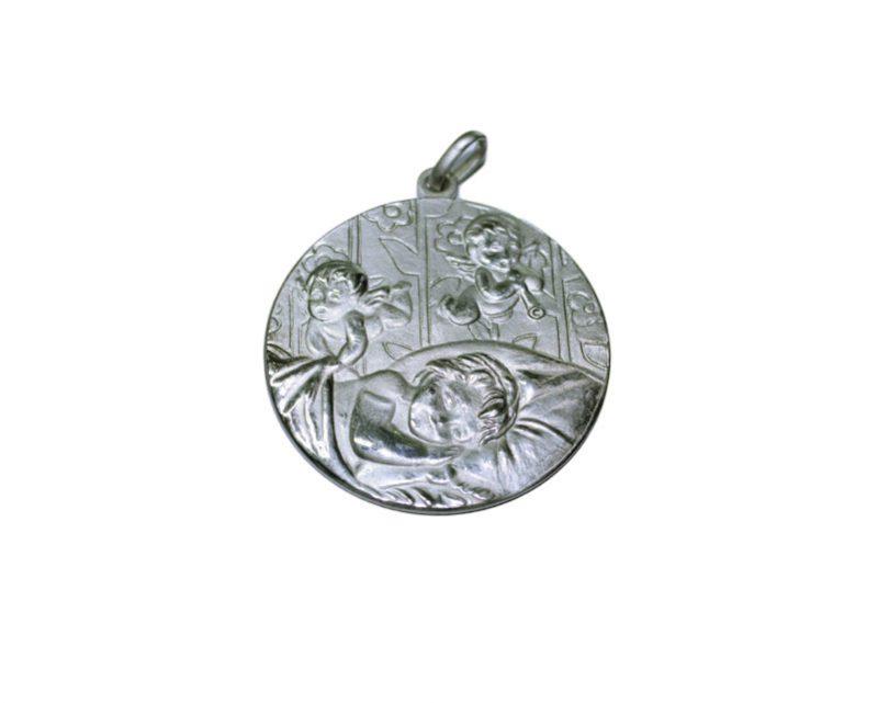 Ángeles c/niños. 42mm Medalla de alpaca
