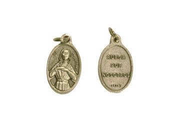 Santa Agueda. 2cm Medalla ovalada plateada