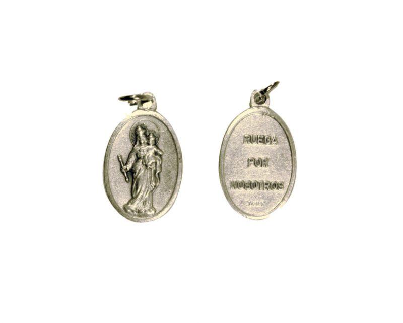 Auxiliadora. 2cm Medalla ovalada plateada