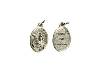 Santa Barbara. 2cm Medalla ovalada plateada