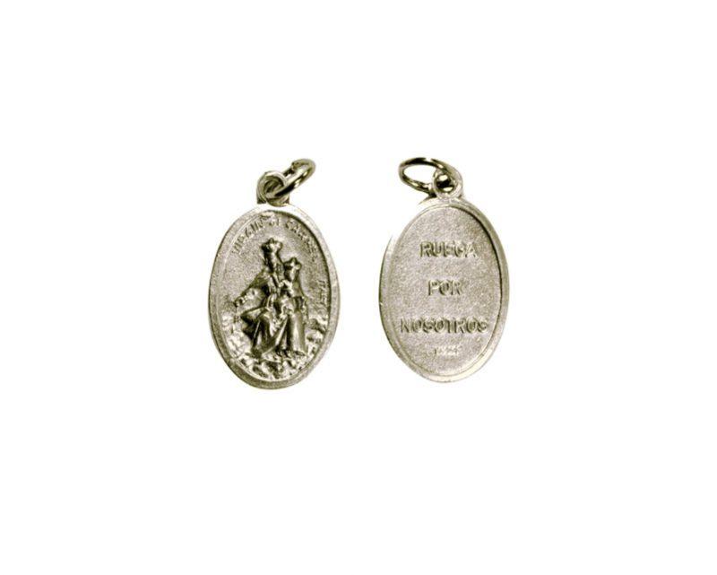 Carmen. 2cm Medalla ovalada plateada