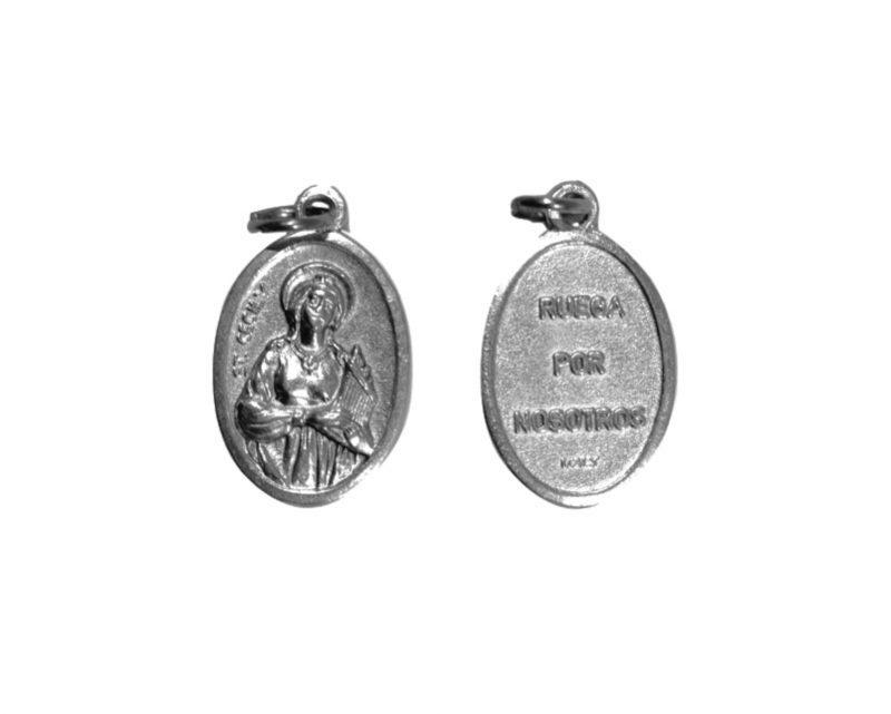 Santa Cecilia. 2cm Medalla ovalada plateada