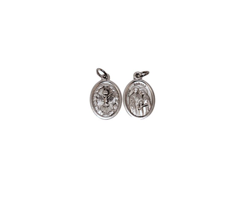 Sagrada Familia/Espíritu Santo 2cm. Medalla ovalada plateada