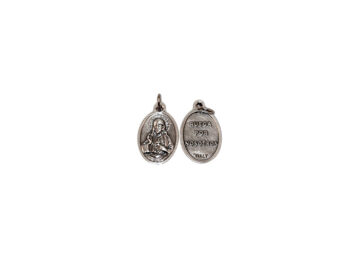 Sagrado Corazón. 2cm Medalla ovalada plateada