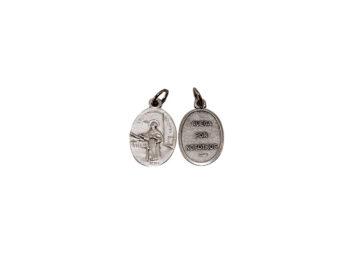 Santo Tomás de Aquino. 2cm Medalla ovalada plateada