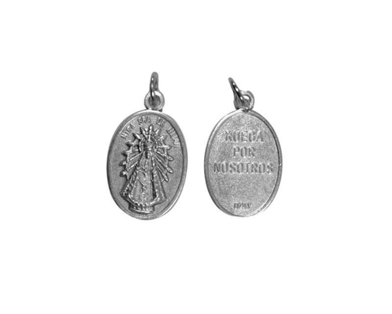 Luján. 2cm Medalla ovalada plateada